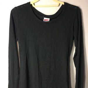 Soffe Partially Sheer Black Long Sleeve